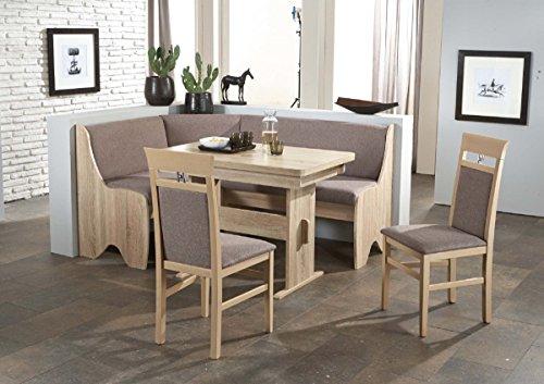 Beauty.Scouts Eckbankgruppe 'Tander' Essgruppe 166 x 126 x 87 Tisch 2 Stühle modern Sonoma Eiche grau-braun Eckbank Küchentisch 4-teilig Landhaus Küche