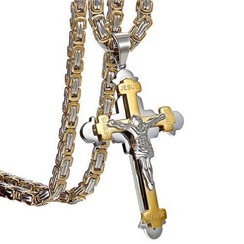 Uomo Croce Collana con ciondolo oro argento, oidea Vintage in acciaio inox Gesù Crocifisso Ciondolo con catena Re catene 55cm