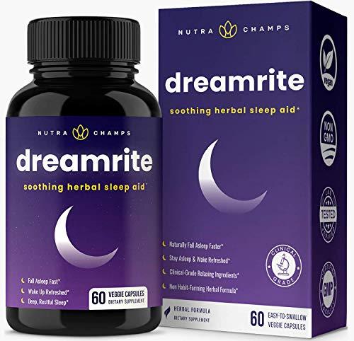 Dreamrite Natural Sleep Aid - Non-Habit Forming Vegan Sleeping Pills - Herbal Complex With Valerian, Chamomile, Magnesium, Hops Extract, Melatonin - 60 Vegetarian Capsules - Relax &Amp; Calm Supplement