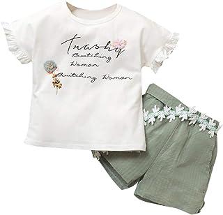 K-youth, Camisetas de Niños Estampado de Flor Carta Manga Corta Tops Blusa y Pantalones Cortos Verano Conjunto Niña Ropa Bebe Niño en Ofertas