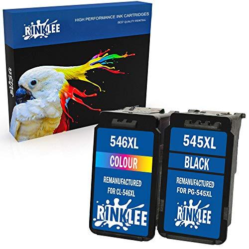 RINKLEE Remanufacturado para Canon PG-545XL CL-546XL Cartucho de Tinta Compatible con Canon Pixma MG2450 MG2550 MG2550S MG2555S MG2950 MG3050 MG3051 MG3052 MX495 iP2850 TS205 TS3150 | 1 Negro, 1 Color