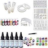 5X 30 ml de resina epoxi cristalina, pegamento UV, 24 piezas de decoración, pigmento...