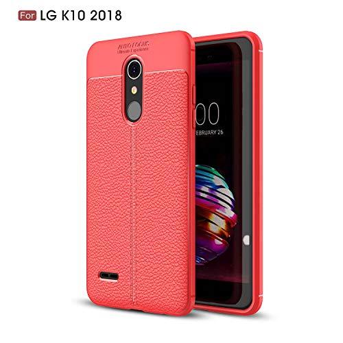 Ycloud Silikon TPU Schutzhülle für LG K11 Weich Ultra Dünn Hülle Stoßfest Anti-rutsch Back Cover Litschi Textur Rot Tasche für LG K10 2018