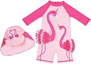 Swimsuit for Girls Flamingo Design Long Sleeve with Cap (UPF 50+) blocks 99% of UV Radiation