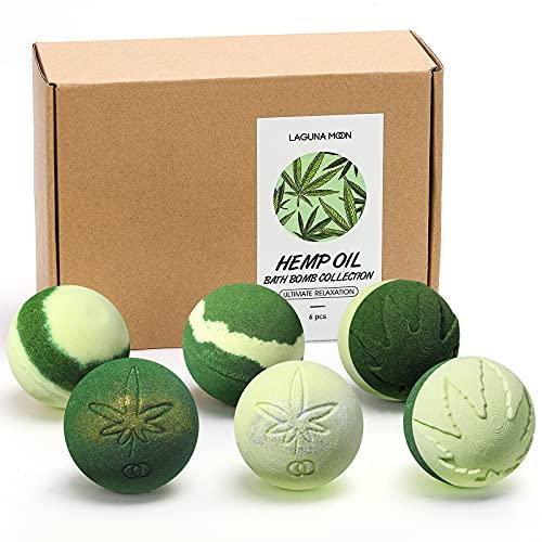 Lagunamoon Hemp Bath Bombs for Relaxation, Bath Bombs for Men and Women, Organic Bath Bombs with...