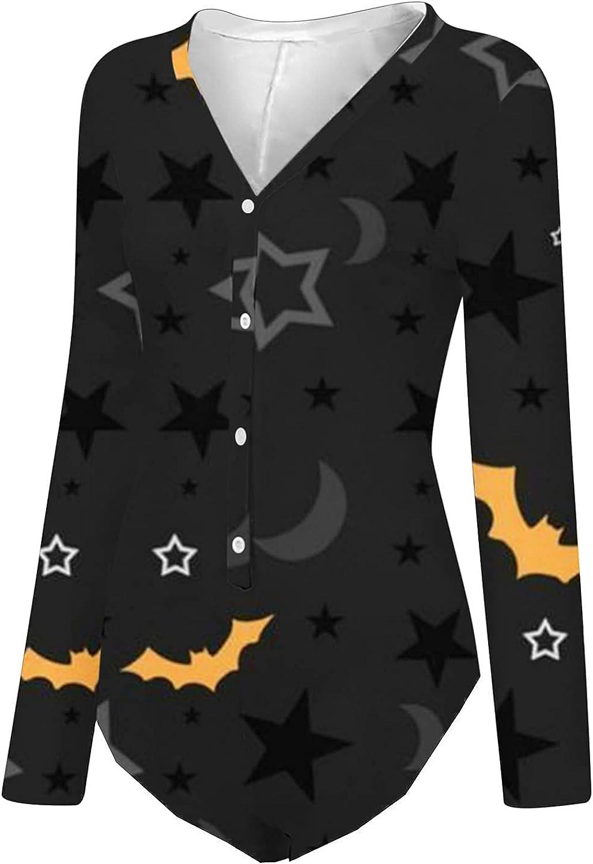 Halloween Print Sexy Bodysuit for Women, wodceeke Womens Button Down Underwear Long Sleeve Buttoned Flap Plus Size Lingerie