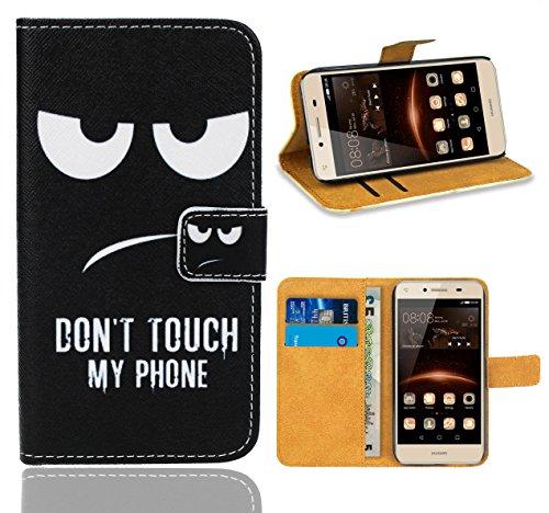 Huawei Y5 II/Huawei Y6 II Compact Handy Tasche, FoneExpert® Wallet Hülle Flip Cover Hüllen Etui Ledertasche Lederhülle Premium Schutzhülle für Huawei Y5 II/Huawei Y6 II Compact