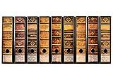 codiarts. 9 Stück breite Ordner-Etiketten - Alte Bücher Lederbände Vintage