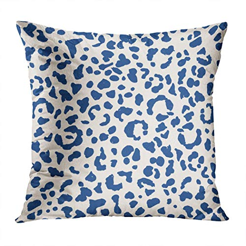 Houlor Leopard Throw Pillow Cover 20 X 20 Inches Watercolor Blue Leopards Geometric Print Pillowcase Living Room Bedroom Dorm Car Hidden Zipper Home Decor Home Style Cushion Case