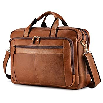 BAIGIO Men s Leather 17  Laptop Business Briefcase Shoulder Tote Bag Portfolio Satchel Lawyers Briefcases for Men  Tan-2