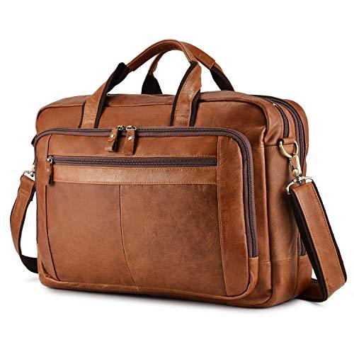 BAIGIO Men's Leather 17' Laptop Business Briefcase Shoulder Tote Bag Portfolio Satchel Lawyers Briefcases for Men (Tan-2)