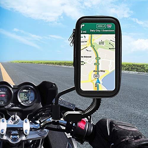 unibelin Motorrad Handyhalterung Wasserdicht Motorrad Halterung 360°Drehbar mit Touch-Screen Rückspiegel Handy Halterung für iPhone XS/XR/X, iPhone 8 Plus, Galaxy S9/S8 und GPS bis zu 6,2 Zoll Geräte