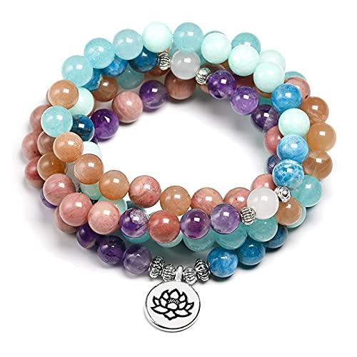 HUALIAN Pulsera Piedra Natural 108 Mala 8mm Beads Multi-Capa Buda Strand Pulsera Yoga Azul Apatita Pulsera para Mujeres Summer Sarstone Jewelry (Metal Color : Lotus Charm)