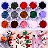 CULER 10ml Fuzzy Flocado Colorido Polvo para manicura del Arte del Clavo de Navidad Decoración de Terciopelo del Brillo del Clavo Polvo para pulimento de Clavo Rosado