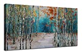 Ardemy Canvas Wall Art White Birch Trees Picture Painting One Panel Blue Forest Landscape, Modern Nature Artwork Plants Prints Extra Large Framed for Home Office Bedroom Living Room Wall Decor 60'x30'