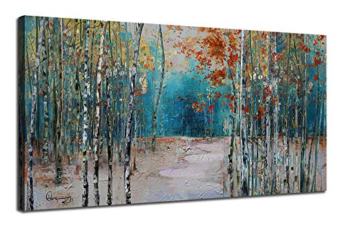 "Ardemy Canvas Wall Art White Birch Trees Picture Painting One Panel Blue Forest Landscape, Modern Nature Artwork Plants Prints Extra Large Framed for Home Office Bedroom Living Room Wall Decor 60""x30"""
