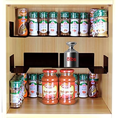 "TJ.MOREE Invisible Spicy Jar Shelf 3M Adhesive Spice Organizer Metal Stackable Kitchen Cabinet 8.9"" Length (8 pack)"