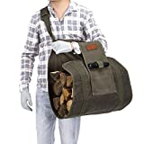 Firewood Bag Heavy Duty Waxed Canvas Log Carrier Tote Bag, Firewood Holder, Fireplace