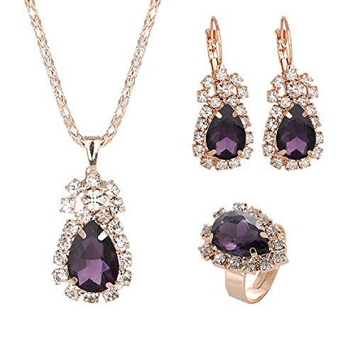 Aplogize Conjunto De Joyas Para Mujer Pendientes y Collares Conjunto De Collar Con Colgante De Gota (Púrpura)