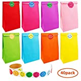 Augshy 40 Pcs Favor Paper Bags with A Roll of 100 Smile Face Stickers for Kids Chirstmas Birthday Party Supplies (Solid Color)