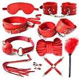 ppobbet Leather Cuffs with Adjustable Straps Set Red VGF165