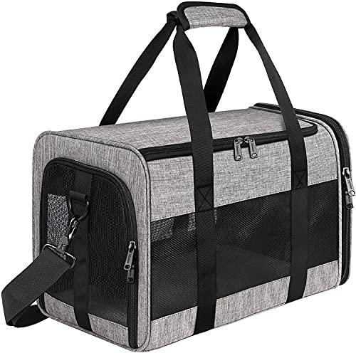 ペット輸送会社、携帯用犬のスーツケース、携帯用犬のスーツケース、ロック可能な安全ジッパー、航空会社が承認された編まれた折りたたみ式犬のキャリアによって承認されました