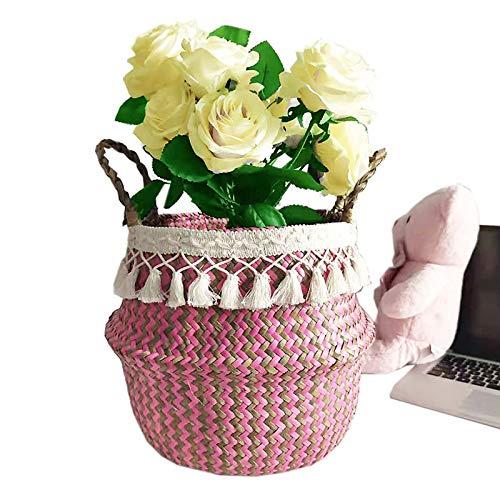 Szetosy - Cesta de junco para almacenamiento de Goodchance UK, con pompones. Cesta plegable tejida y con asa para ropa, juguetes, plantas o para usar en el cuarto del bebé, Estilo#15, 22 x 20 cm