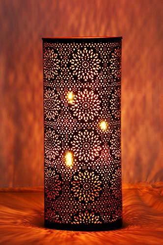 Orientalisches Windlicht Laterne orientalisch Amelle 30cm Groß | Orientalische Vintage Teelichthalter Schwarz und Kupferfarben innen u außen | Marokkanische Windlichter aus Metall als Dekoration