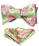 HISDERN Paisley Floral Party Self Bow Tie Handkerchief Men's Self Bow tie & Pocket Square Set Green/Pink