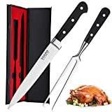 Carving Knife and Fork Set - 8 Inch Professional Meat Carving Knife Set 2 Piece Kitchen Carving Set,Ergonomic Grip, Home Gourmet BBQ Tool Cutlery Knives for Brisket, Meat, Roast, Ham and Turkey