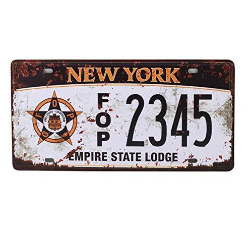 Arte nostálgico EE. UU. Número de automóvil Nueva York California Matrícula de Metal Decoración Vintage Cartel de Pared Bar Pub Garaje Placas de estaño Letreros 2 Piezas