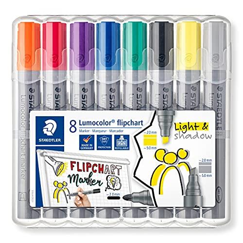 STAEDTLER flipchart Marker Lumocolor, farbintensive, schnelltrocknende, geruchsarme Tinte, schlägt nicht durch Papier durch, 8 flipchart Marker in aufstellbarer STAEDTLER Box, 356 SWP8