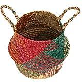 Seagrass panier, Foldeable Sac de rangement Organisateur avec poignées main naturel ventre paniers à linge fleurs Cache-pot jardin de rangement pour jouets, blanchisserie, pique-nique coloré