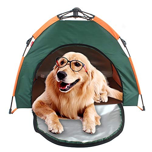 PQXOER Outdoor Dog Houses Pet House Detachable Portable Waterproof Dog Tent And Outdoor Portable Pet Crate For Small Medium Dog Outdoor Activities Dog Kennel (Color : Green, Size : 79x77x62cm)