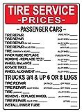 TIRE SERVICE PRICES. 24x18 Heavy Duty Indoor/Outdoor Plastic Sign