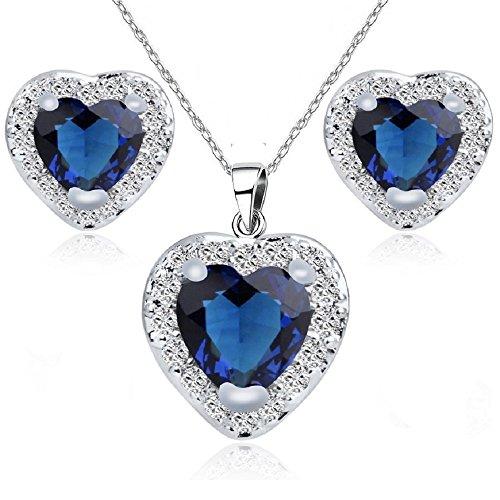 Cuori Purare con Zaffiro simulato Blu Cristalli austriaci di zirconi Collana con Ciondolo 45 cm Orecchini 18 kt Placcato Oro Bianco