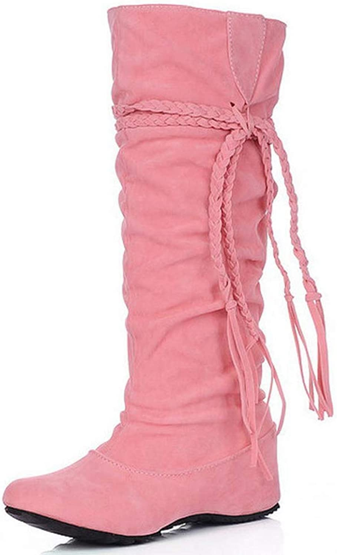 Beautiful - Fashion Women's Mid Calf Slouch Boot Comfortable Slip On Round Toe Tassel Flat Heel Hidden Wedge Knee High Boots