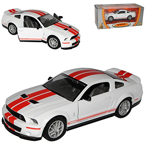 Ford Shelby Mustang Cobra Gt500 GT 500 Ab 2007 Weiss Rot Streifen 1/24 Yatming Modellauto Modell Auto