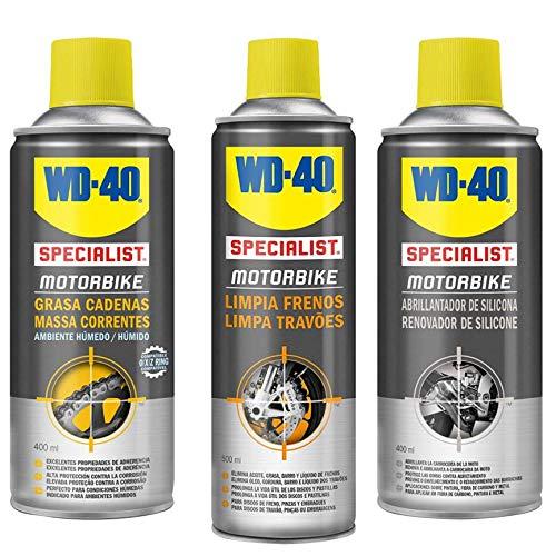 wd-40Specialist Motorbike tripack kit di manutenzione Totale della Moto pulire I freni, Lucidante in silicone, grasso di catene