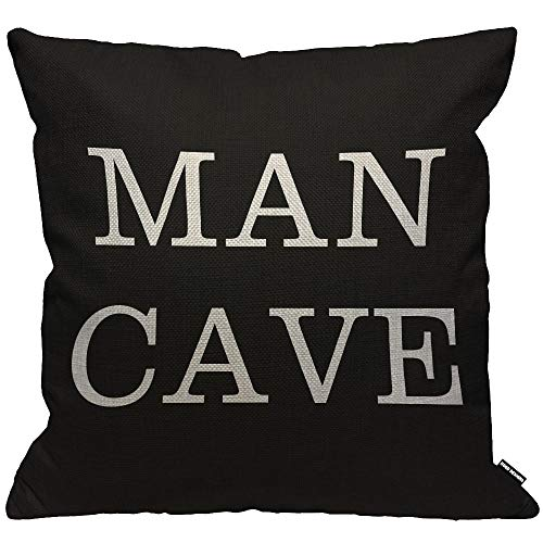 HGOD DESIGNS Cushion Cover Man Cave on Black Background,Throw Pillow Case Home Decorative for Men/Women Living Room Bedroom Sofa Chair 18X18 Inch Pillowcase 45X45cm