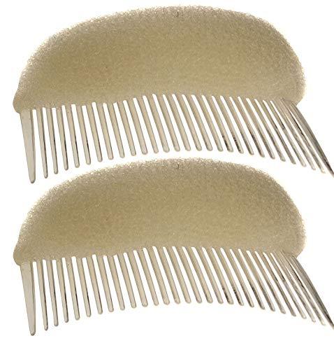 2PCS Long 3.3inch Hair Decoration Comb Sponge Foam Hair Volume Bump it up Insert Hair Base Styling Accessories Back Do Beehive Hair Styler Hair Increasing Tool (Beige)