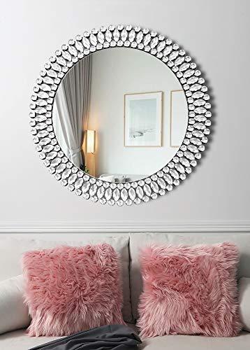 MUAUSU Espejo decorativo de pared con forma de círculo, elegante, 31.5 x 31.5 pulgadas, para dormitorio, entrada, sala de estar, comedor, pasillo