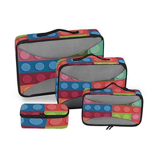 Geometric 4pcs Large Travel Toiletry Bag for Women Big Wash Bags Hair Dryer Case Multi-Use Toiletries Kit Cosmetics Makeup Bathroom Organizer Suitcase Luggage