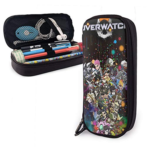 Over-Watch Portable Pencil Case Cute Canvas Pen Bag Desk Stationery Organizer with Zipper Pen Holder for School