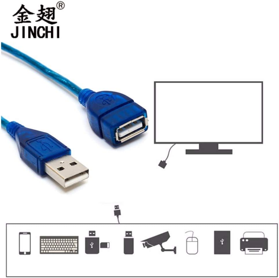 Cable Length: 3m 1.5//2//3M Anti-Interference USB 2.0 Extension Cable USB 2.0 Male To USB 2.0 Female Extension Data Sync Cord Cable Blue Lysee Data Cables