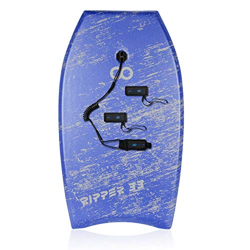 WOOWAVE Bodyboard con correa en la muñeca revestida, tabla superligera de 33/36/41 pulgadas, con tethers, núcleo de EPS y parte inferior deslizante, surf perfecto para niños, jóvenes y adultos.