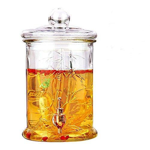 KABSJ Glass Bottle Fermentatore Homebrew Birra & Vino Bottiglia di Vetro Senza Piombo giara di Vino, Bottiglia Dimensioni: Altezza 33cm, Diametro: 19cm,bambù con Rubinetto di Rame