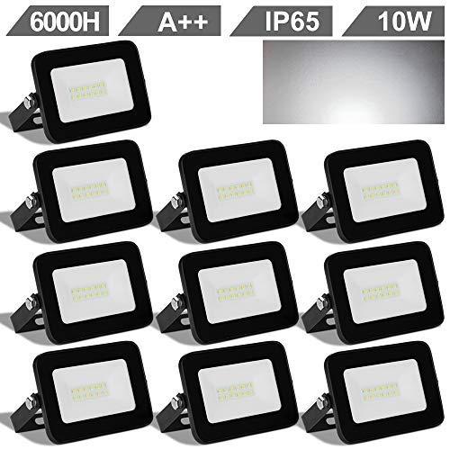 Hengda® 10 Stück 10W LED Fluter KaltWeiss (6000-6500k) Scheinwerfer 230V