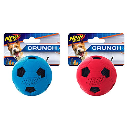 Nerf Dog Soccer Ball Dog Toy with Interactive Crunch, Lightweight, Durable and Water Resistant, 2.5 Inches, for Small/Medium/Large Breeds, Two Pack, Red and Blue