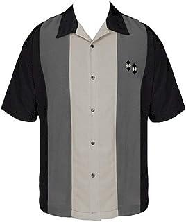 b1d26bdcbf5d BeRetro Men s Short-Sleeve Black Cuban Collar Style Camp Shirt ~ Platinum